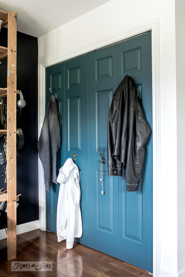 Homestead Blue Fusion Mineral Paint closet doors with hooks in the boy's bedroom | funkyjunkinteriors.net