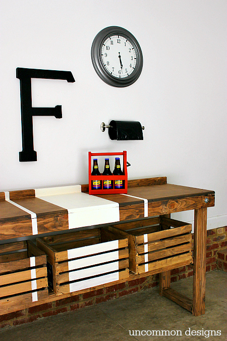 Wood and crate striped workbench, by Uncommon Designs, featured on Funky Junk Interiors
