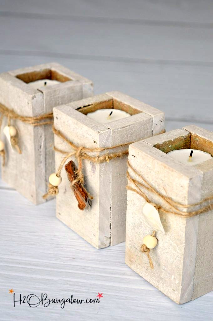 Scrap wood coastal tea light candle holders, by H2O Bungalow, featured on Funky Junk Interiors