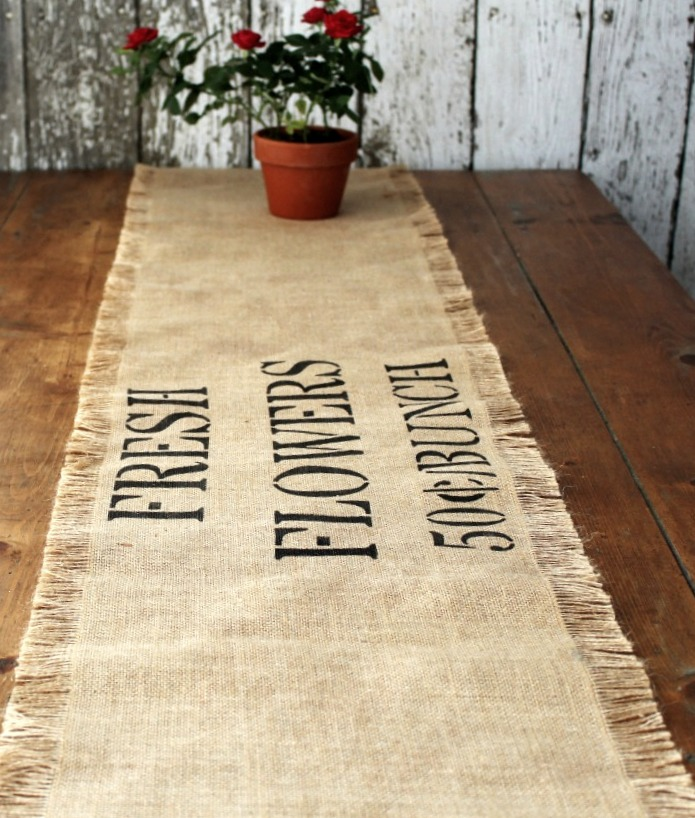 Stenciled burlap table runner by Knick of Time, featured on Funky Junk Interiors