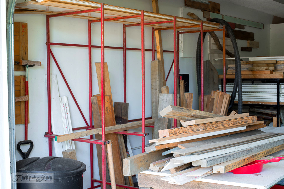 How to store reclaimed wood in a garage workshop | funkyjunkinteriors.net
