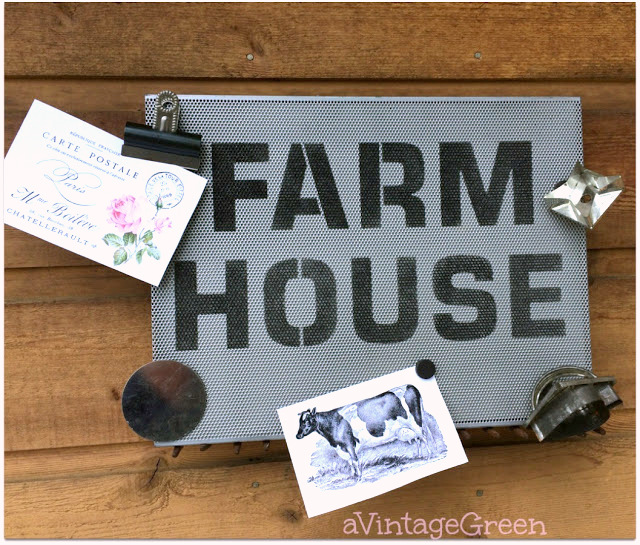 Magnetic Farmhouse sign by A Vintage Green, featured on Funky Junk Interiors