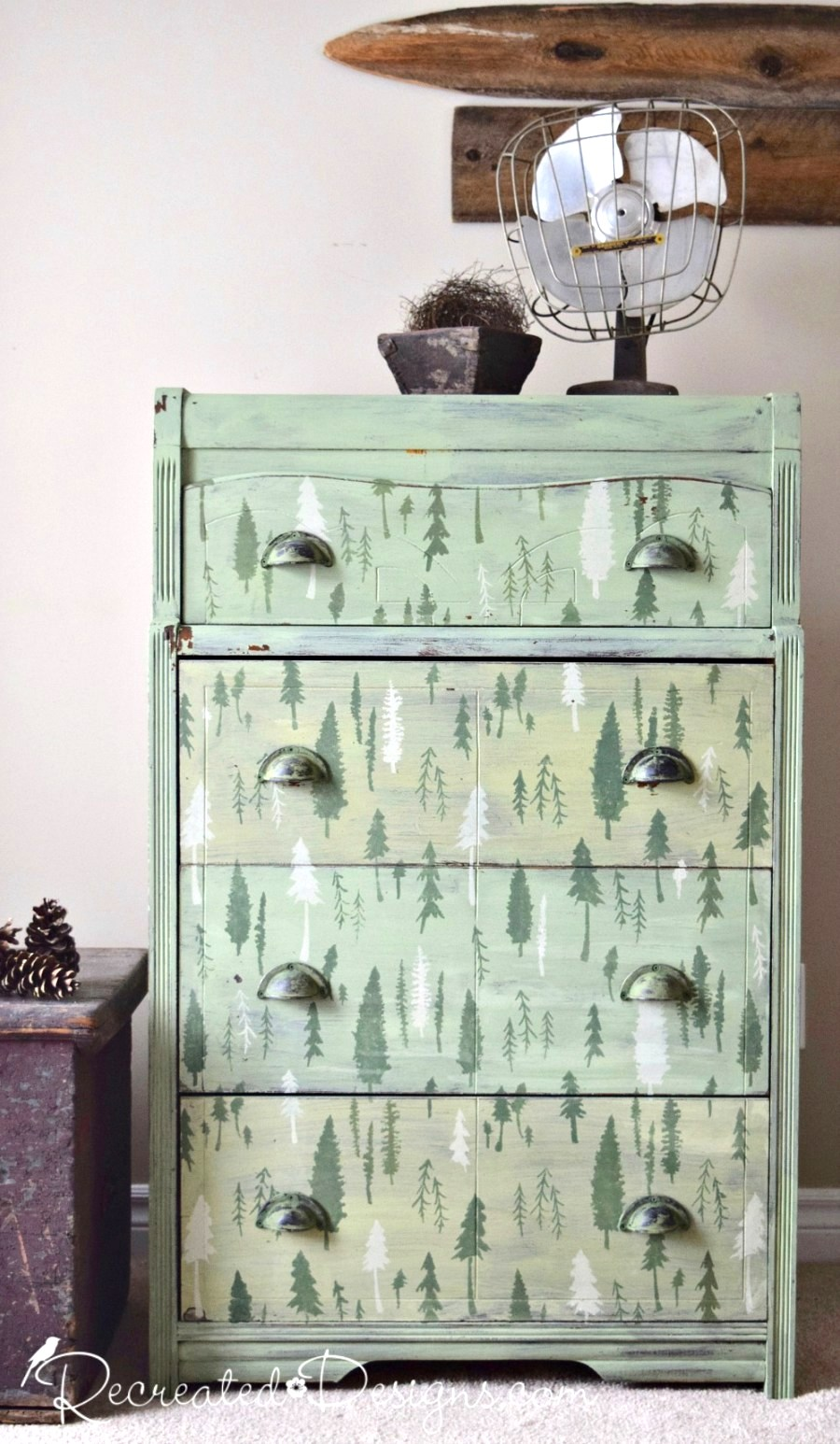 Milk painted forest on a dresser, by Recreated Designs, featured on Funky Junk Interiors