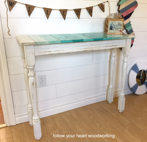Coastal plank topped hall table by Follow Your Heart Woodworking, featured on Funky Junk Interiors
