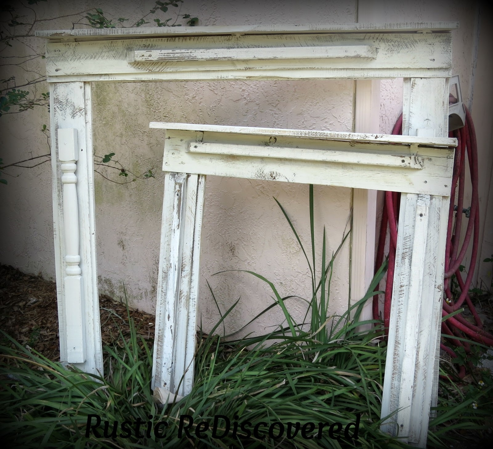 Scrap wood fireplace mantels, by Rustic Rediscovered, featured on Funky Junk Interiors