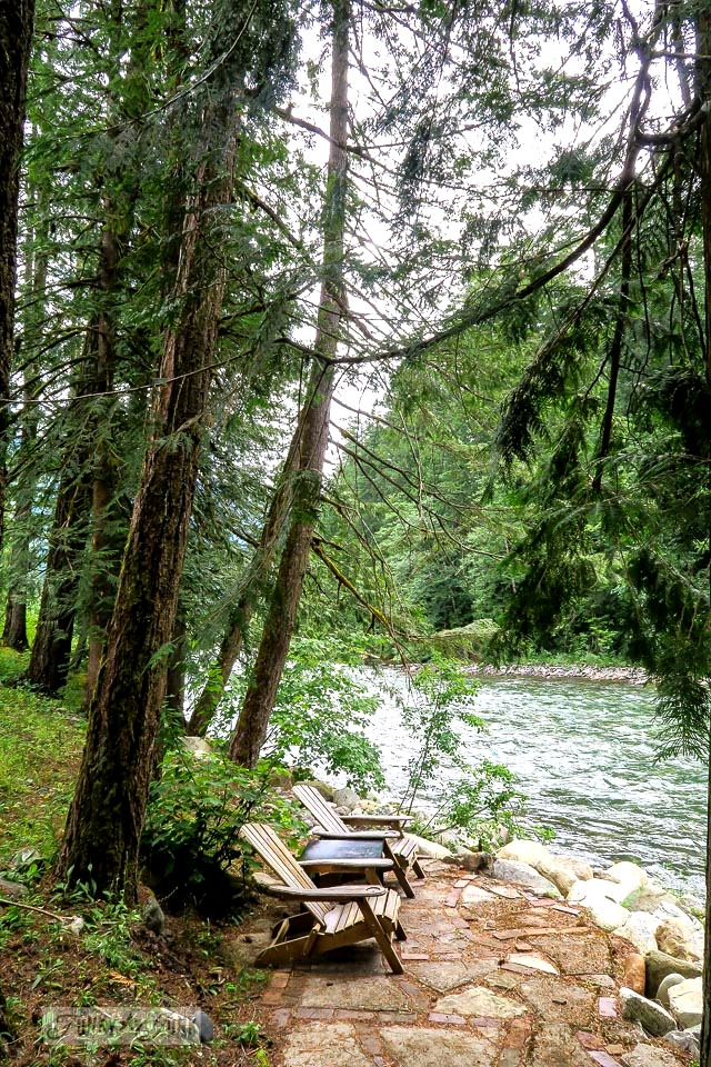 A river front sitting area in Hope, BC Canada