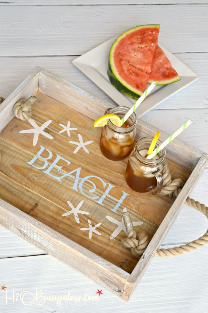 Coastal beach tray, by H2O Bungalow, featured on Funky Junk Interiors