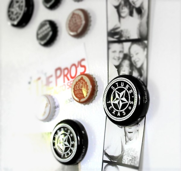Bottle cap magnets by Stow and Tell U, featured on Funky Junk Interiors
