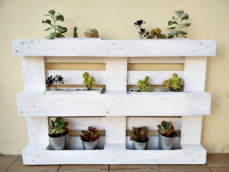 Pallet wood and baking tin succulent planter by Kreativ K, featured on Funky Junk Interiors