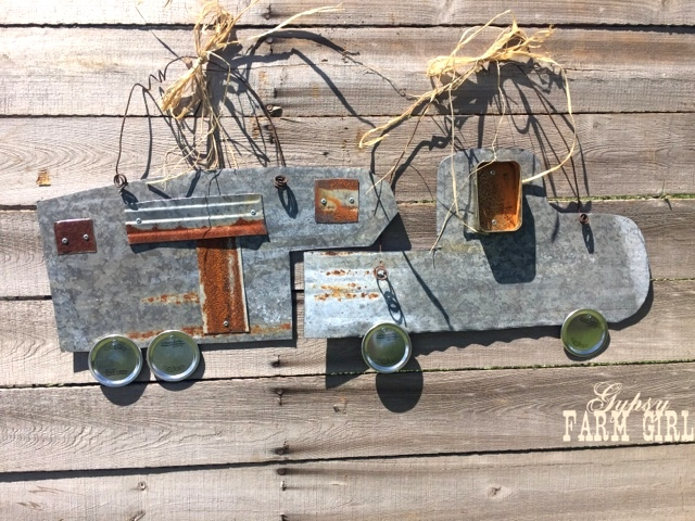 Tin cut truck and trailer and signs, by Gypsy Farm Girl, featured on Funky Junk Interiors