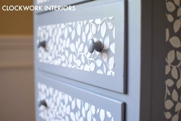 Raised stencil leaf motif on a dresser by Clockwork Interiors, featured on Funky Junk Interiors