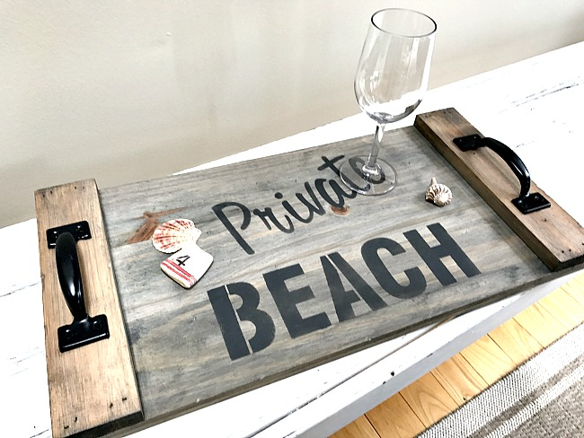 Private Beach weathered tray by Homeroad, featured on Funky Junk Interiors