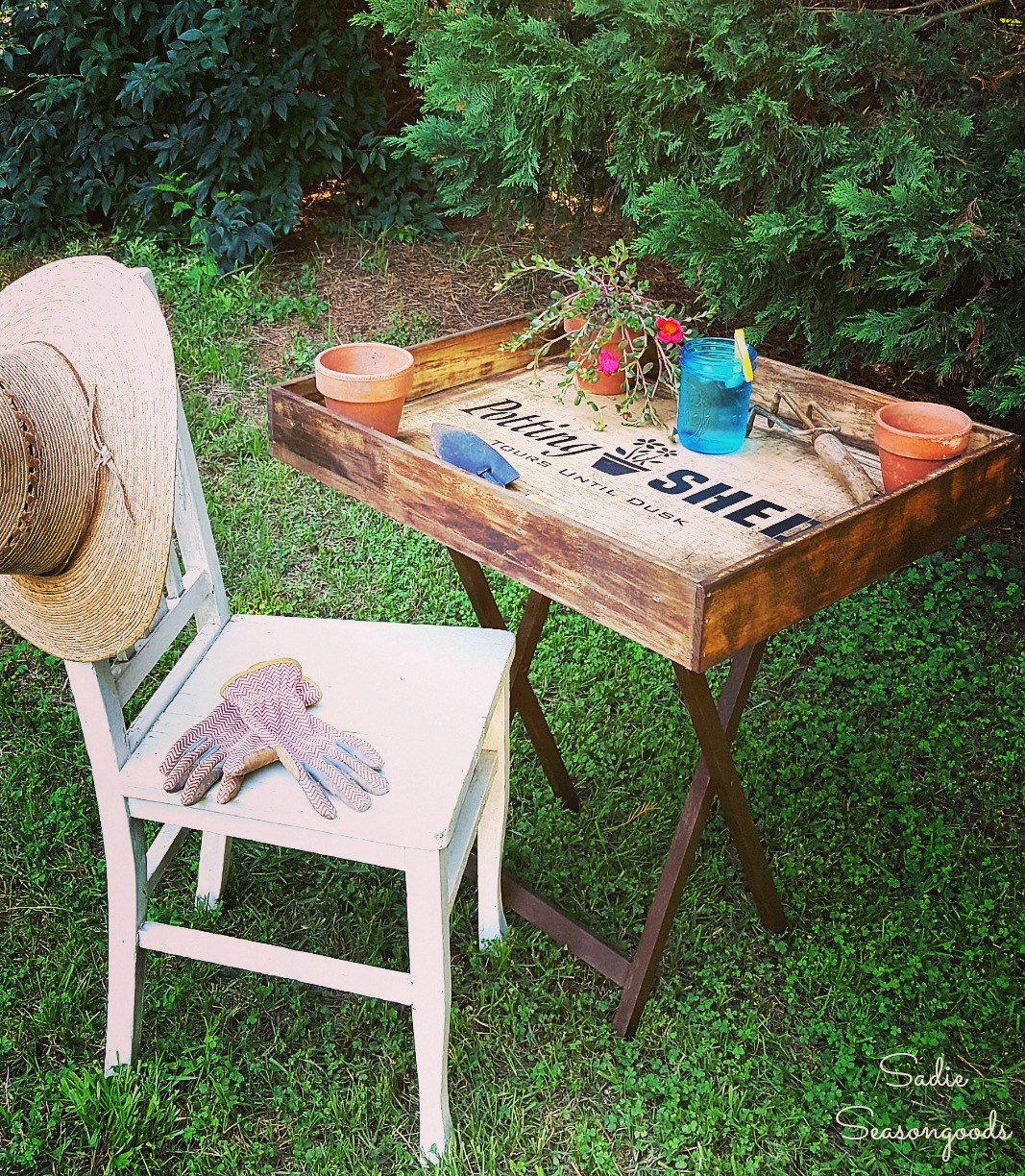 Up-cycled drawer portable potting bench, by Sadie Seasongoods, featured on Funky Junk Interiors