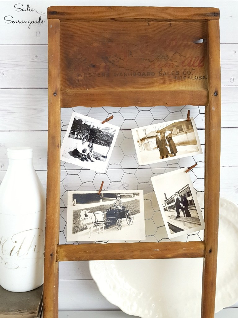 Vintage washboard chicken wire photo frame by Sadie Seasongoods, featured on Funky Junk Interiors