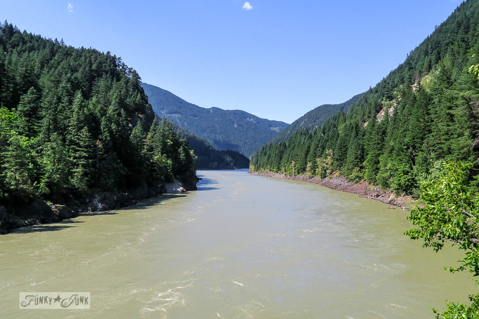 Scenic Fraser Canyon view peering through the rails of the Alexandria Bridge, located one hour east of Hope, BC Canada | funkyjunkinteriors.net