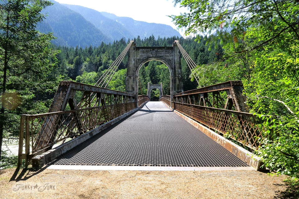 Scenic trees line the Alexandria Bridge, located just outside of Hope, BC Canada | funkyjunkinteriors.net