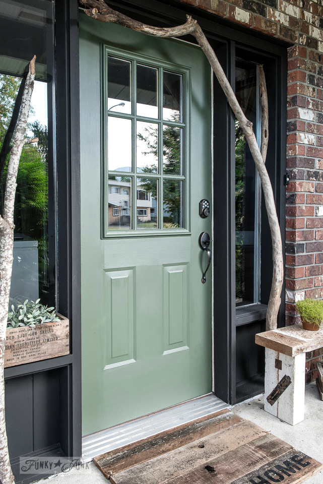 Branch framed front door repaint in Bayberry by Fusion Mineral Paint, plus a reclaimed wood mat and barn wood bench | funkyjunkinteriors.net