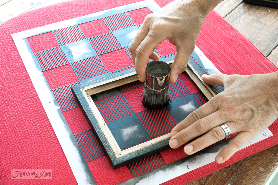 How to Buffalo Check a plain red outdoor cushion, using Funky Junk's Old Sign Stencils and Fusion Mineral Paint | funkyjunkinteriors.net