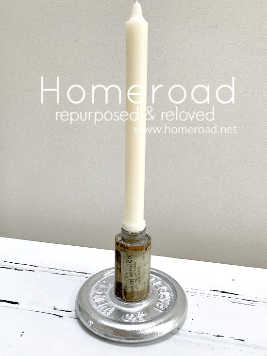 Antique wire spool and dumbel candle holder by Homeroad, featured on Funky Junk Interiors