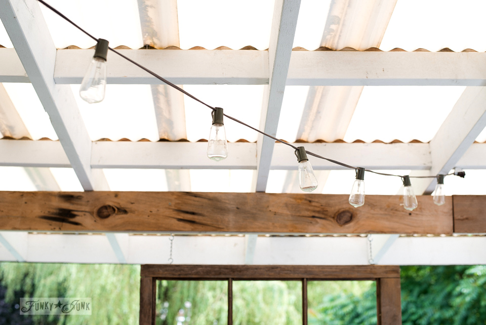 Strung lights for patio or porch lighting