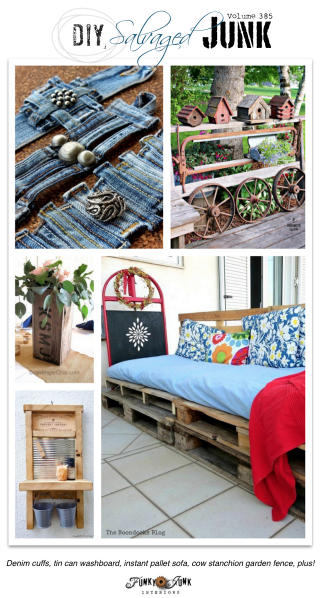DIY Salvaged Junk Projects 385 - Denim cuffs, tin can washboard, instant pallet sofa, cow stanchion garden fence, plus! Features and a junk link party at funkyjunkinteriors.net