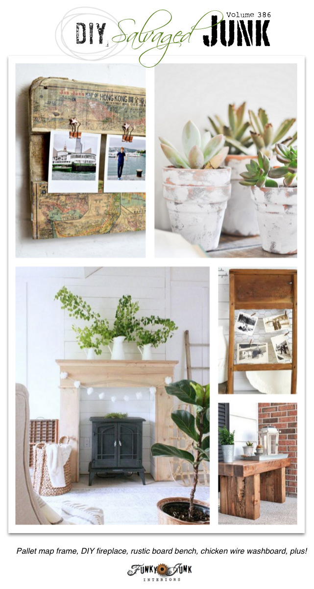DIY Salvaged Junk Projects 386 - Pallet map frame, DIY fireplace, rustic board bench, chicken wire washboard, plus! Features with a NEW up-cycled linkup.