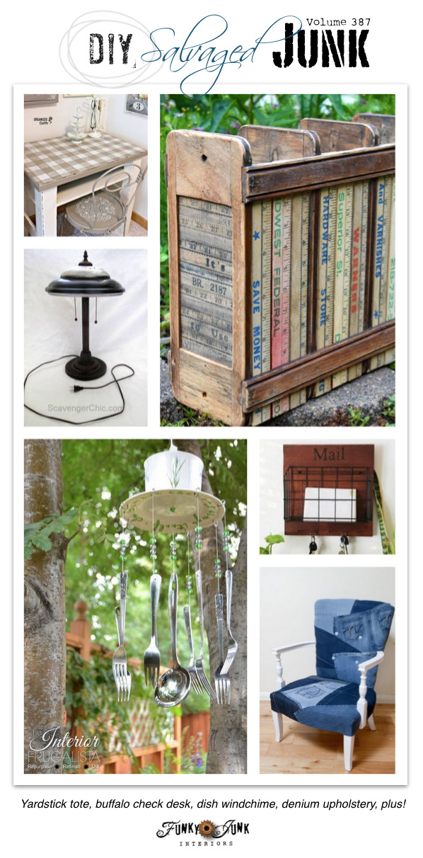 DIY Salvaged Junk Projects 387 - Yardstick tote, buffalo check desk, dish wind chime, denim upholstery, plus! Features and a NEW junk project link up!