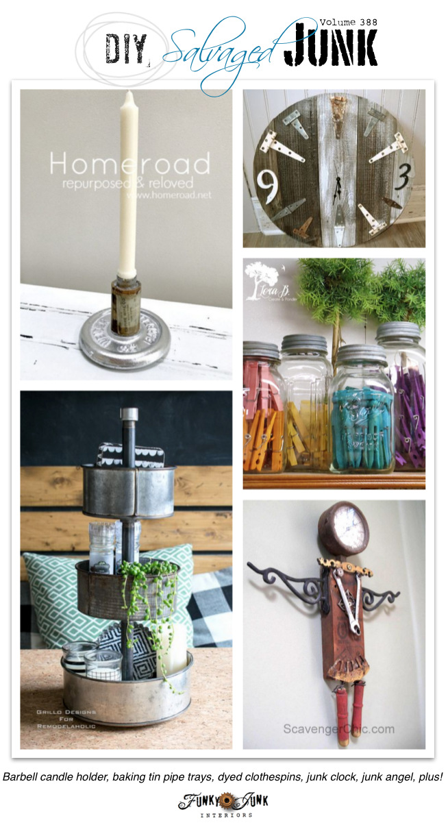 DIY Salvaged Junk Projects 388 - Barbell candle holder, baking tin pipe trays, dyed clothespins, junk clock, junk angel, plus! Features and NEW junk linkup!