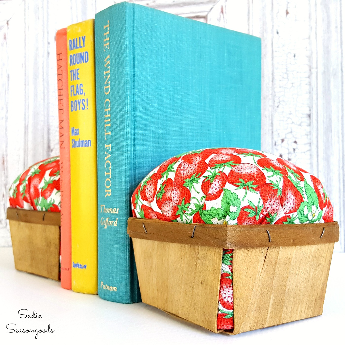 Berry basket bookends by Sadie Seasongoods, featured on Funky Junk Interiors