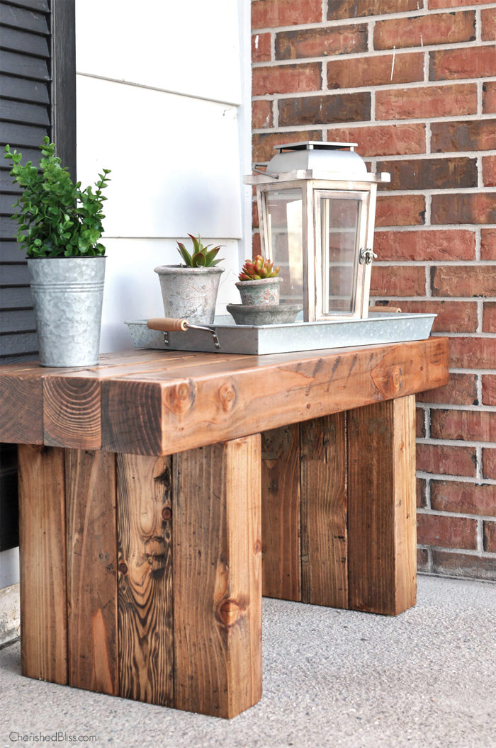 Rustic wood outdoor bench by Cherished Bliss, featured on Funky Junk Interiors