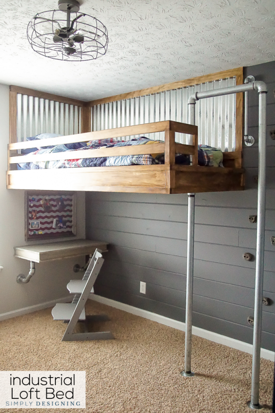 Industrial boy's bedroom with loft bed, by Simply Designing, featured on Funky Junk Interiors