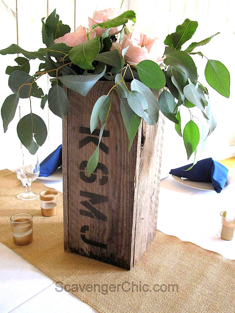 Wood crate styled centrepiece vases, by Scavenger Chic, featured on Funky Junk Interiors
