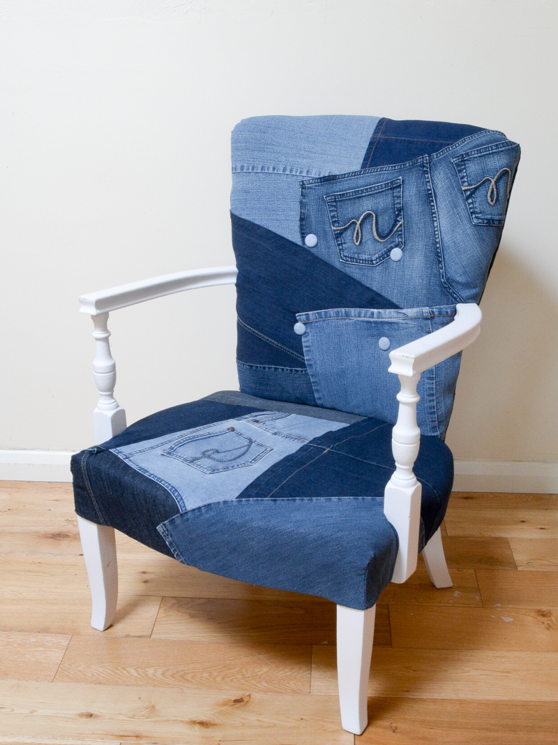 Denim upholstered chair, by Vicky Meyers Creations, featured on Funky Junk Interiors