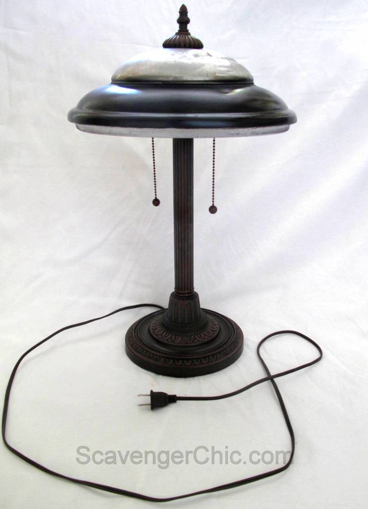 Rusty hubcap turned vintage lamp, by Scavenger Chic, featured on Funky Junk Interiors
