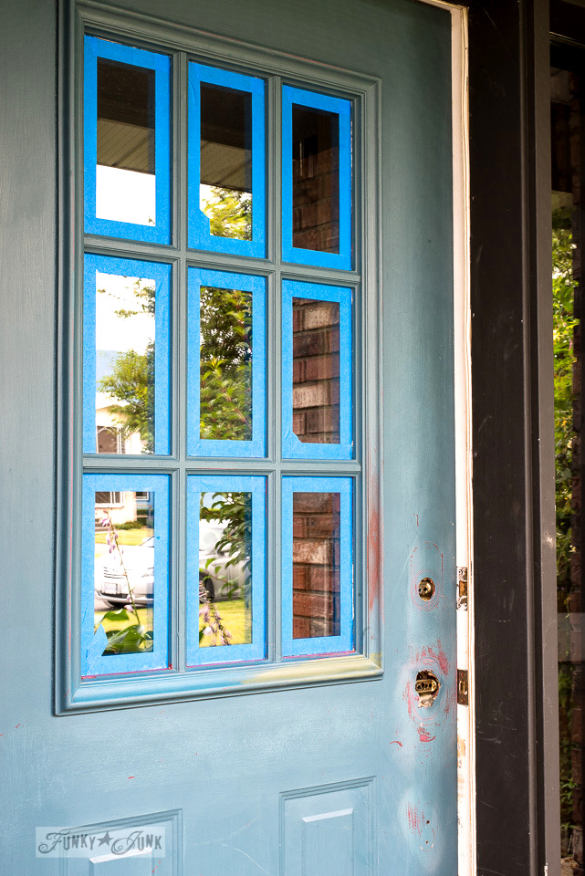 Repainting a front door with Fusion Mineral Paint's Bayberry | funkyjunkinteriors.net