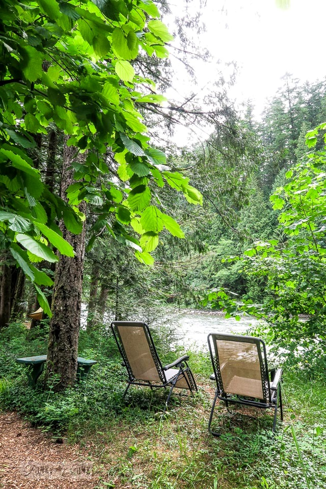 Sitting area in the forest at the riverfront getaway at Eco Retreat in Hope, BC Canada | funkyjunkinteriors.net