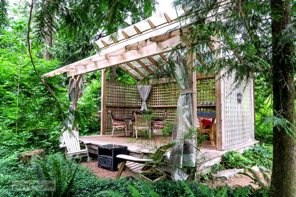 Outdoor living room gazebo at the riverfront getaway at Eco Retreat in Hope, BC Canada | funkyjunkinteriors.net