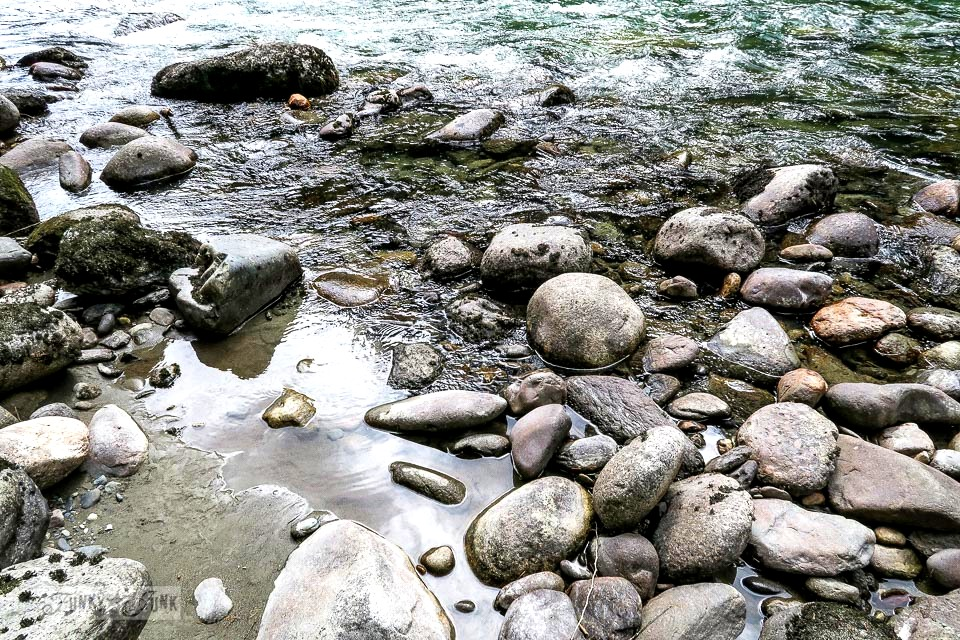 Rocky river beach at the riverfront getaway at Eco Retreat in Hope, BC Canada | funkyjunkinteriors.net