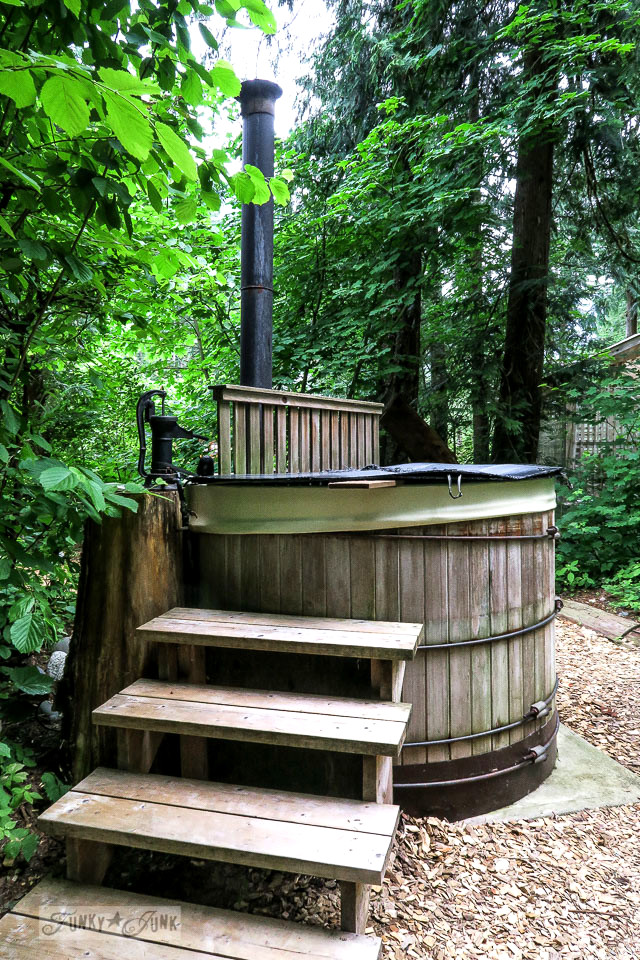 Wood heated hot tub at the riverfront getaway at Eco Retreat in Hope, BC Canada | funkyjunkinteriors.net
