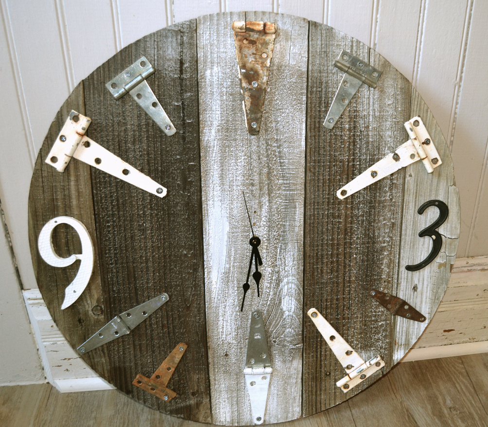 Reclaimed wood junk bracket farmhouse clock by Saturdays Vintage Finds, featured on Funky Junk Interiors