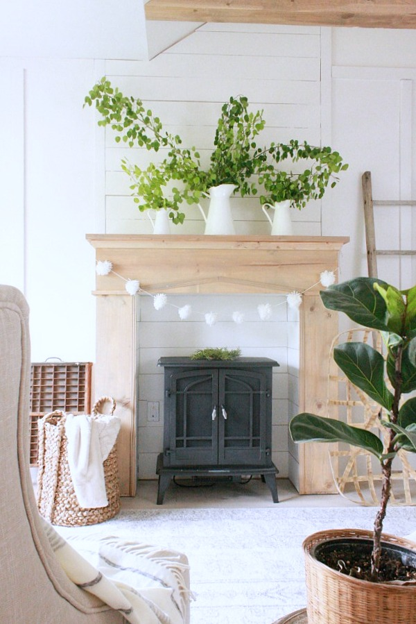 DIY fireplace in a farmhouse bedroom reveal by Twelve On Main, featured on Funky Junk Interiors