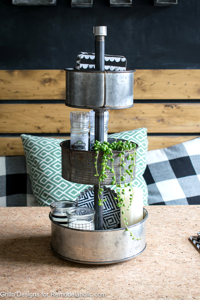 DIY Three Tiered Stand – From Baking Tins by Grillo Designs featured on Funky Junk Interiors