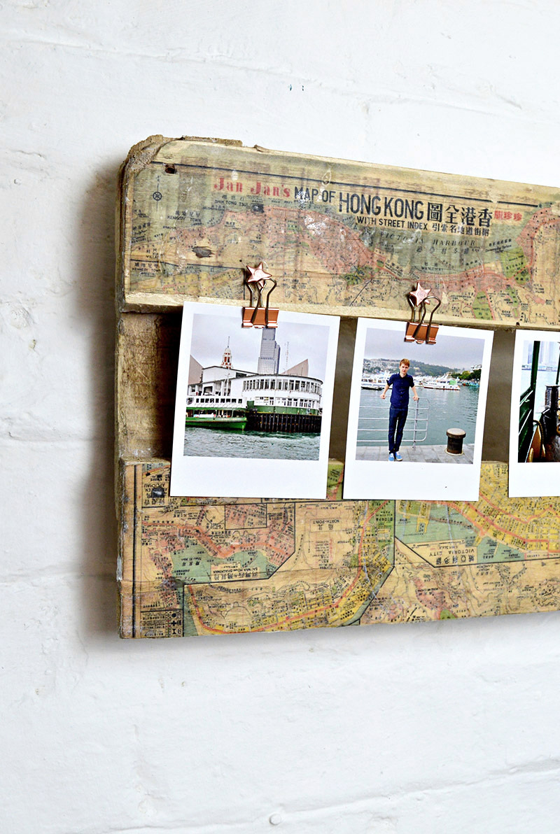 Map covered pallet wood travel picture frame by Pillar Box Blue, featured on Funky Junk Interiors