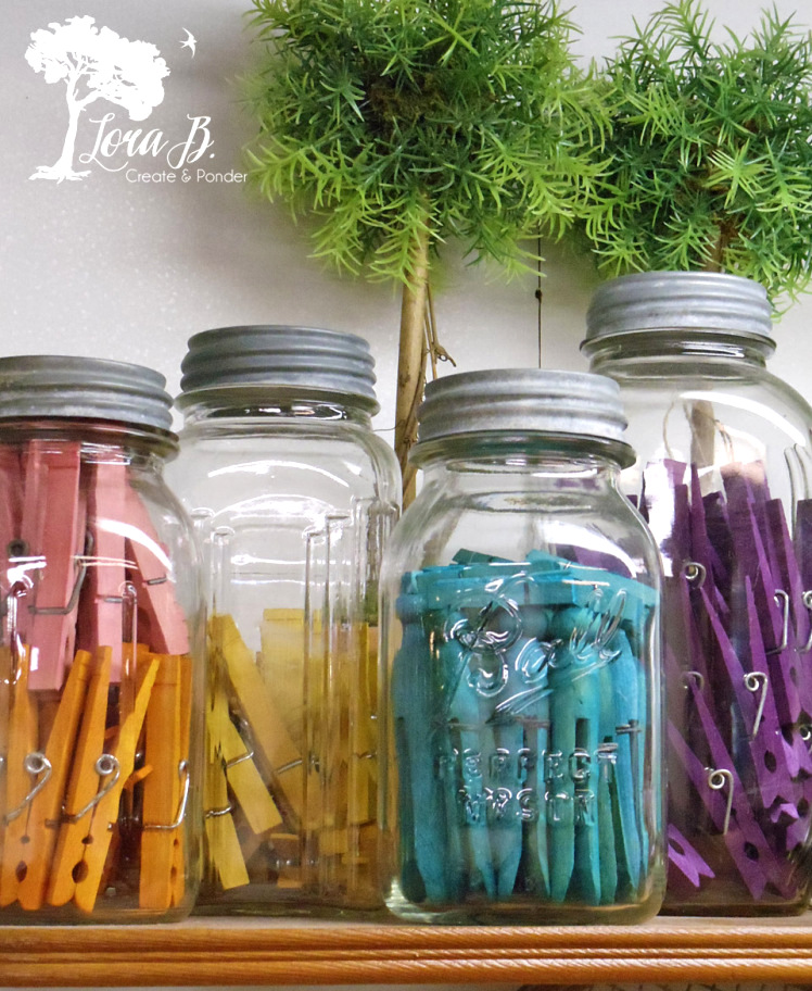 Rit dyed clothespins by Lora B, featured on Funky Junk Interiors