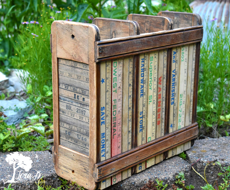 Sewing machine drawer frame turned yardstick tote, by Lora B, featured on Funky Junk Interiors