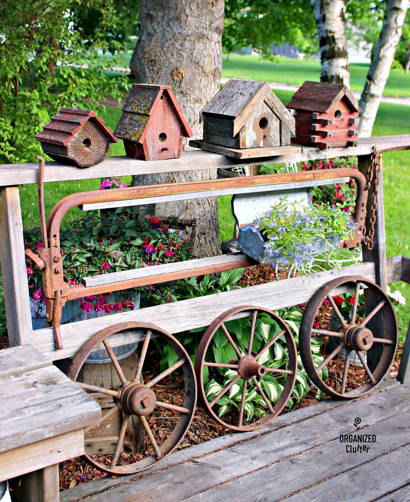 Dairy Farm Stanchion Junk Garden Decor by Organized Clutter, featured on Funky Junk Interiors