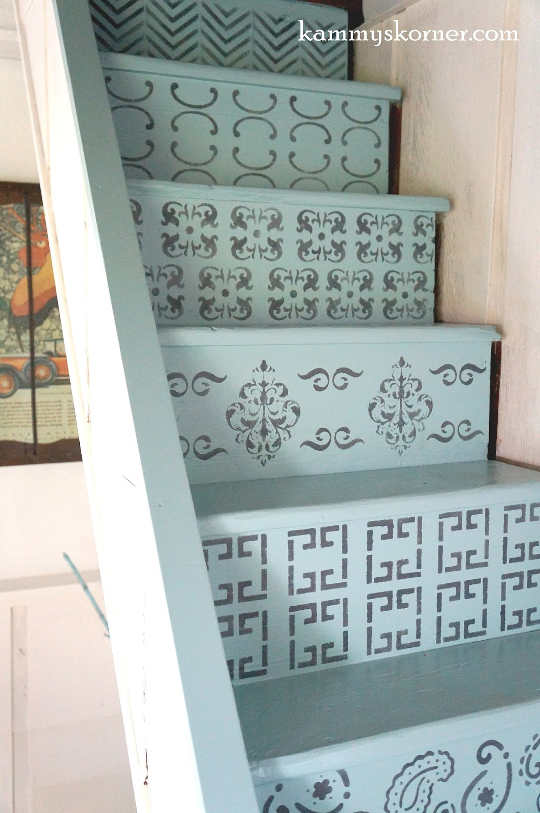 Stenciled stair risers by Kammy's Korner, featured on Funky Junk Interiors