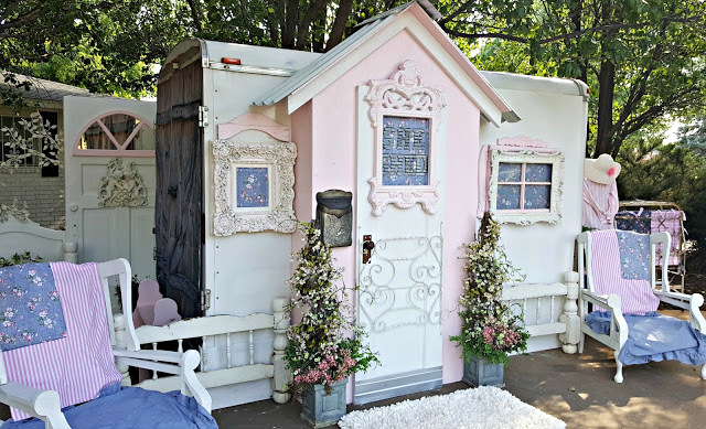 Utility trailer turned She Shed, by Penny's Vintage Home, featured on Funky Junk Interiors