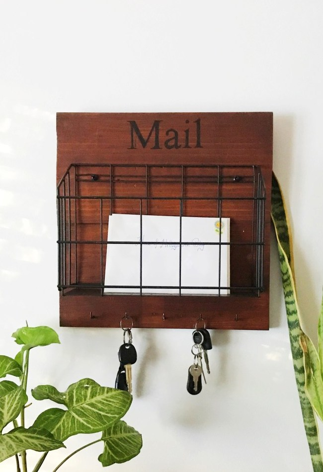 Wire basket mail sorter key station, by House of Hollingsworth, featured on Funky Junk Interiors