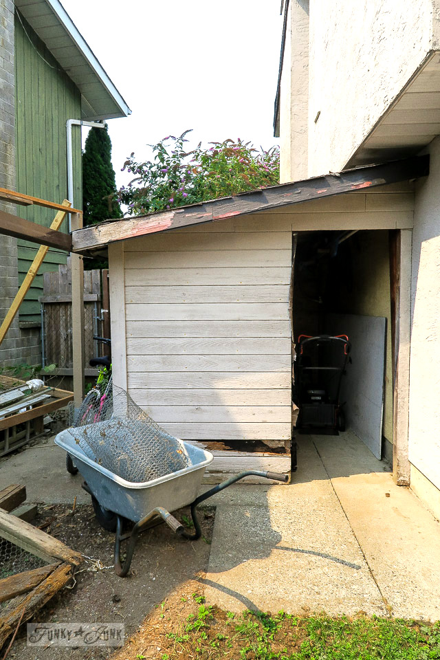The garden shed before, about to be revamped into a rustic wonder! | funkyjunkinteriors.net